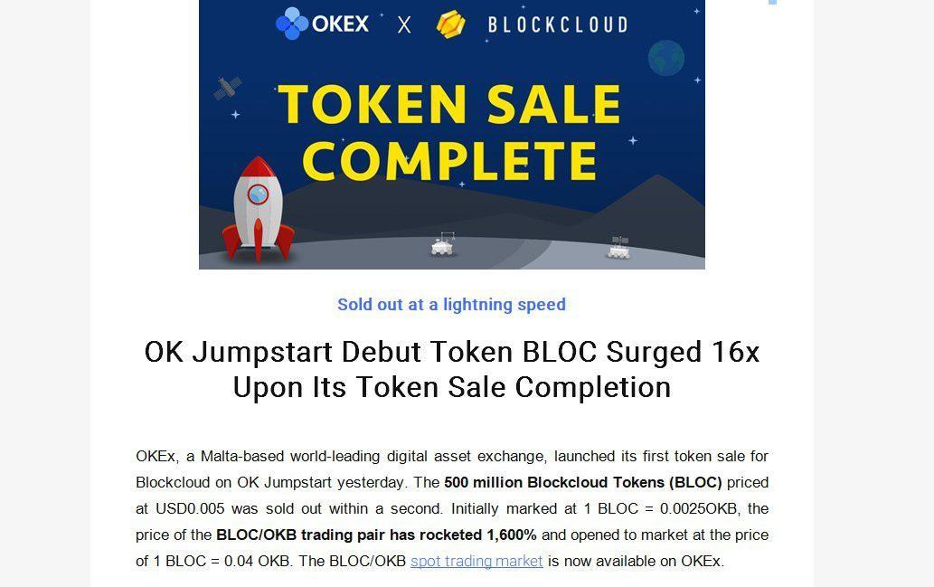 Биржа OKEx подсчитала эффективность продаж токена Blockcloud