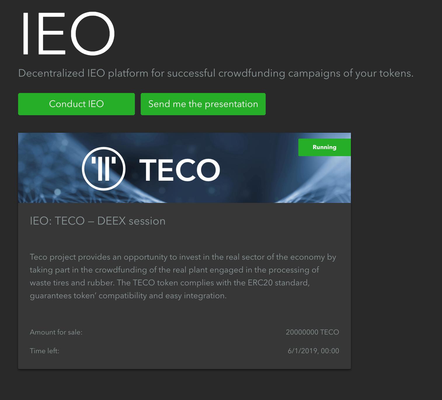 Bunun üzerine tıklamak sizi IEO projesinin sayfasına götürecektir