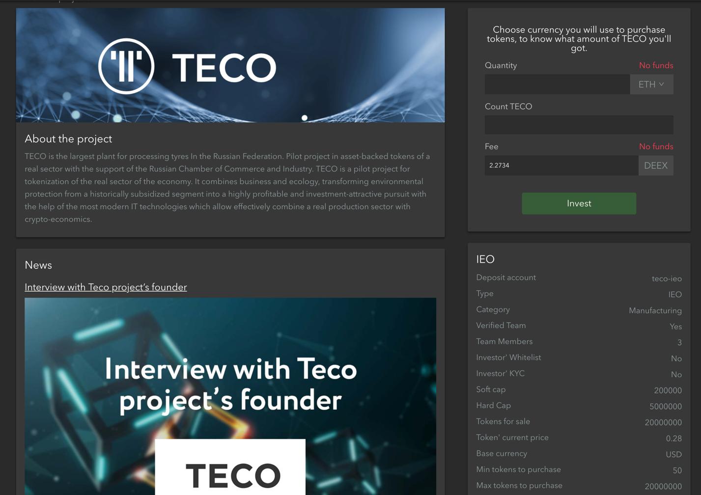 Projenin ana kampanya sayfası, teknik incelemeye, resmi web sitesine ve TECO'nun sosyal kaynaklarına bağlantılar dahil tüm gerekli bilgileri içermektedir