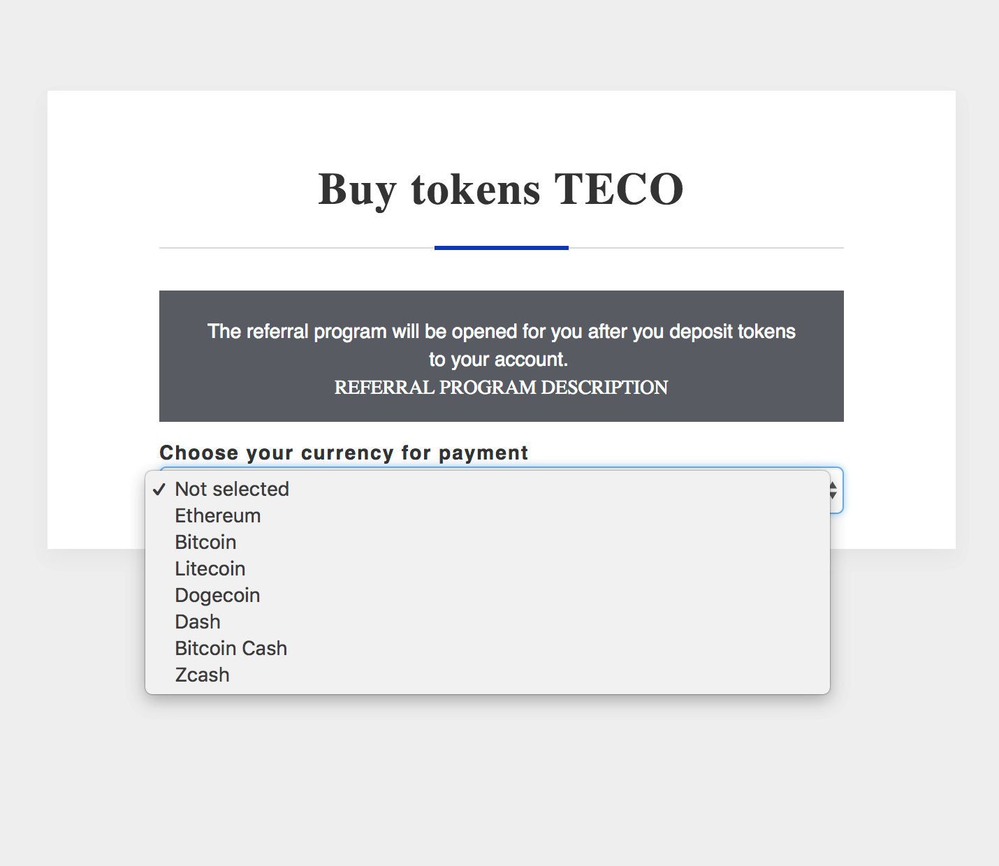 In addition to the purchase of digital coins of the project, the personal account allows you to connect a multi-level referral program which you can use to attract other investors and make a profit from their investments