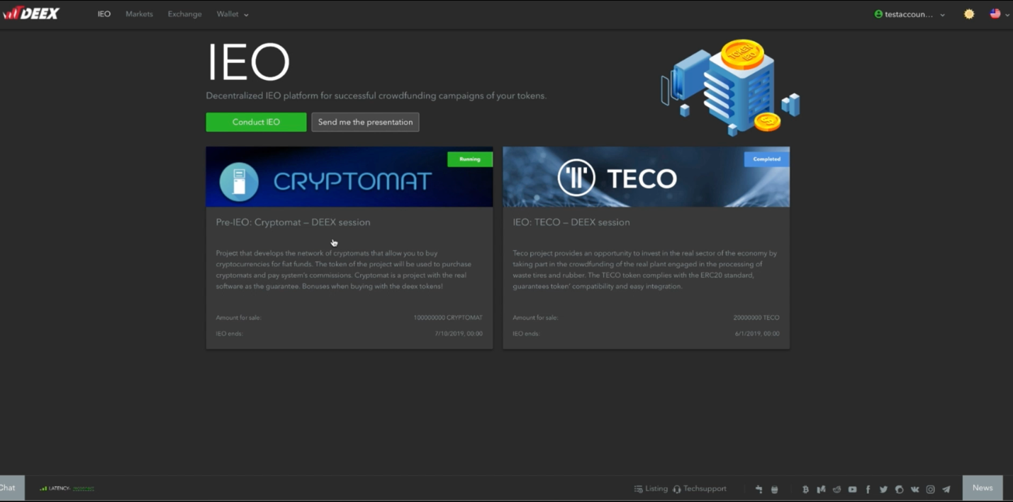 Follow the IEO tab and enter the Cryptomat's page