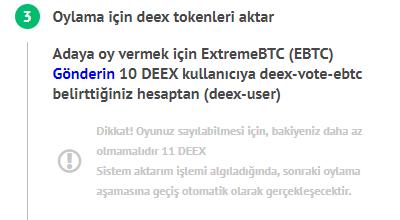 Hesabı kontrol ettikten sonra, sistem size 10 deex'i belirli bir adrese aktarmanızı önerecektir