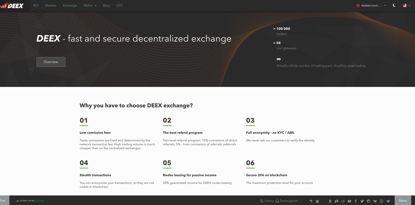 We completely redesigned the main Deex Exchange's page