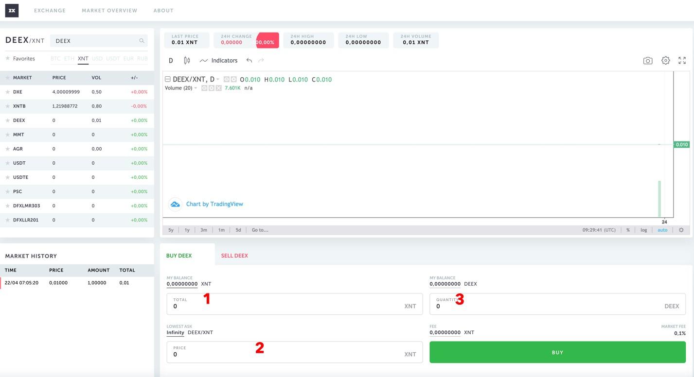 Buying deex tokens on exenium.trade
