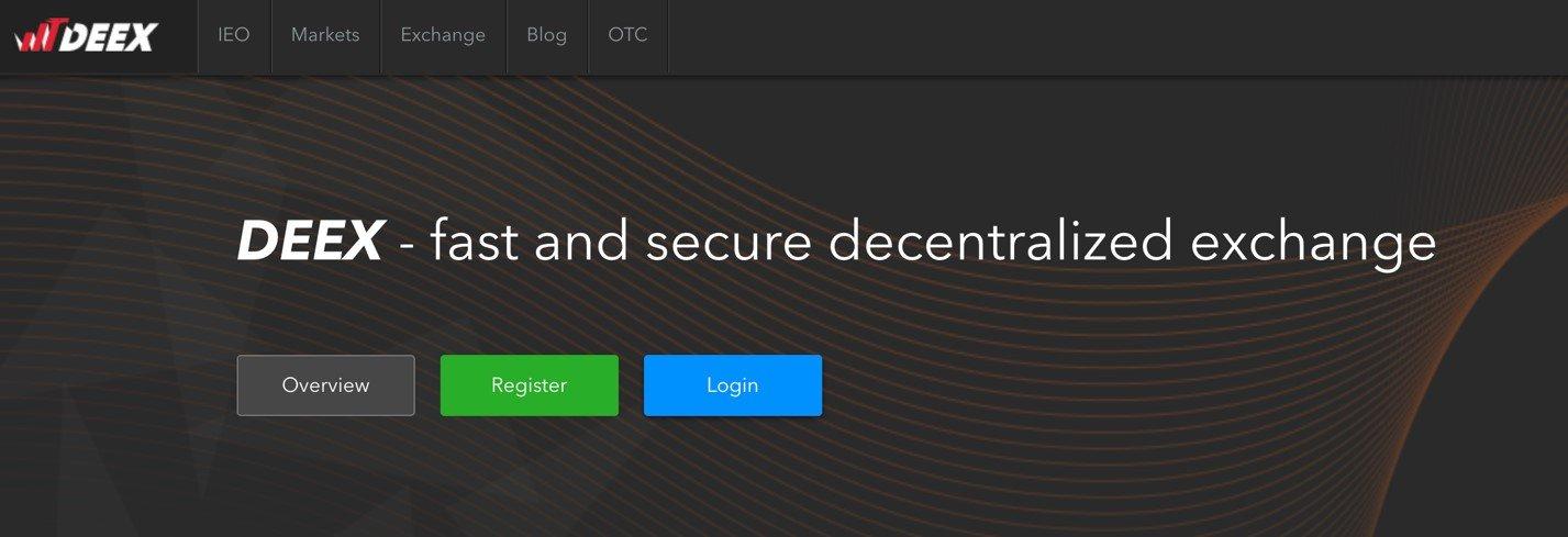 Зайти на deex.exchange и выбрать опцию регистрации