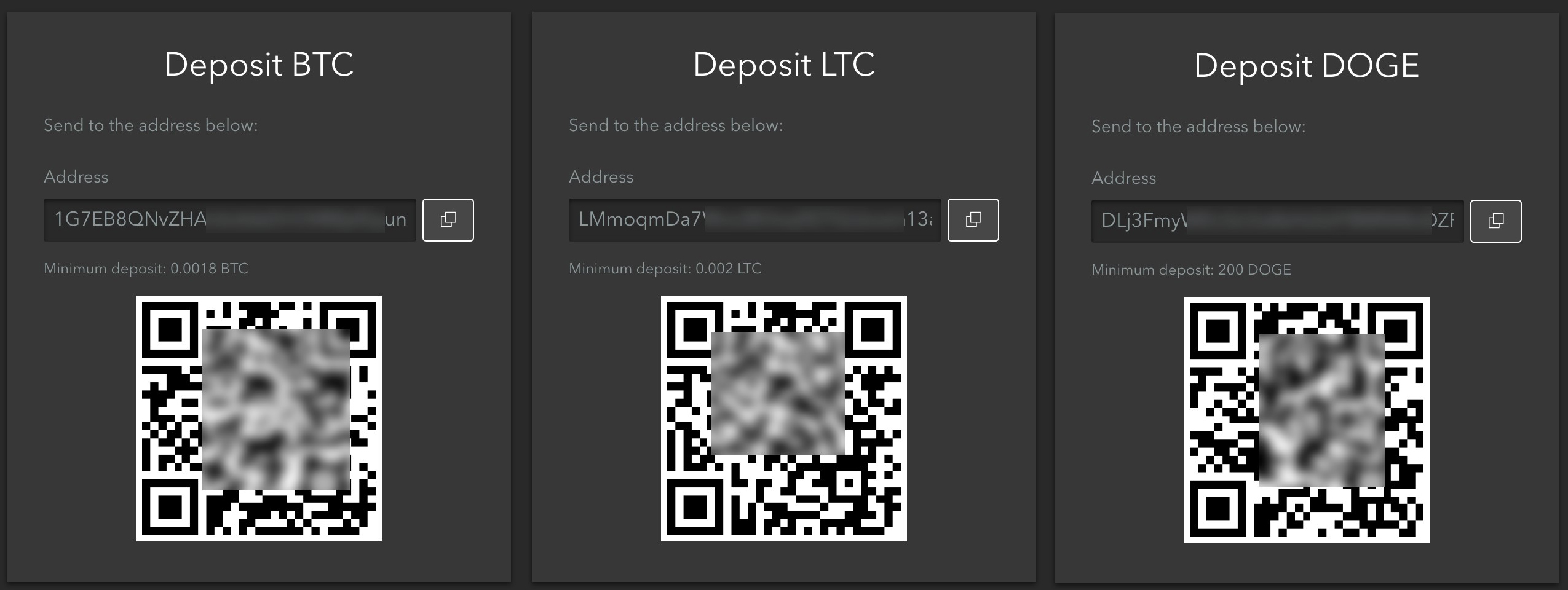 By clicking on Wallet icon you'll see the window with the address which you need to send fund to